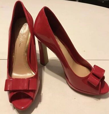 380c9c8aa1f6 JESSICA SIMPSON AMY Size 9M Red Patent Leather Peep Toe Cork Heels ...