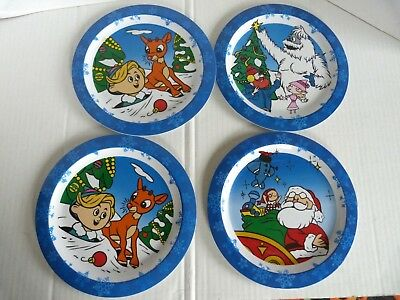 Rudolph The Red Nosed Reindeer Melamine Ware Plates Hermey Misfit Toys Lot of 4