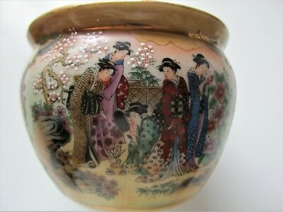 Cherry Blossoms Hand Painted Made in China Stamped Red and Signed Bowl Pot Lip