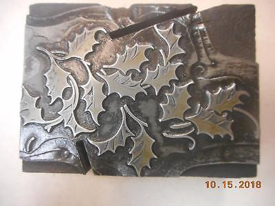 Printing Letterpress Printer Block, Holiday Ivy Leaves Antique, Printer Cut