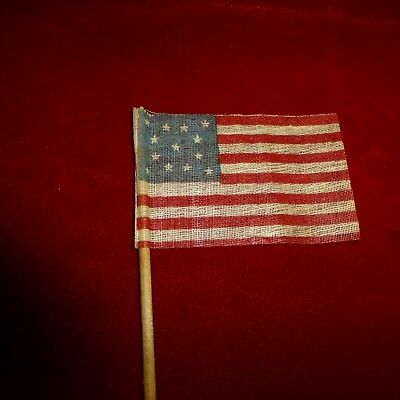Orig. ANTIQUE CENTENIAL  c1876 US American 13 Star Glazed Cotton Flag on Stick