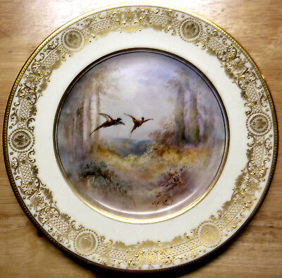antique Royal Doulton plate Pheasant signed J H Plant hand painted gold accents