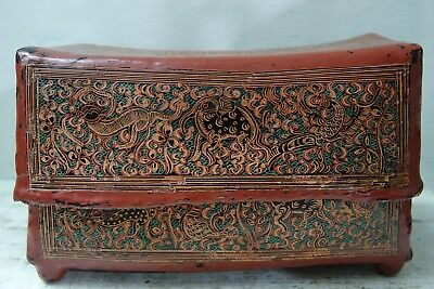 Very Interesting Old Burmese Papier Mache Pillow Box - Very Rare Buddhist Pillow