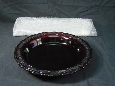 VTG Cranberry Glass Casserole Pie Cake Baking Dish Pan Plate 10''
