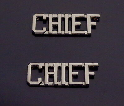 "CHIEF Silver 3/8"" Lettering/Letters Pair Collar Pins Rank Insignia (police/fire)"