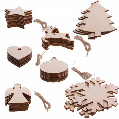 Blank Christmas Tree Wooden Various Shape Hanging Ornaments DIY Craft Xmas Decor