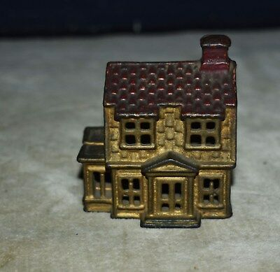 Rare Antique Cast-Iron Still Bank – Hand-Painted – Colonial House – Building