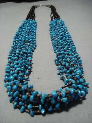 Museum Quality Easter Blue Turquoise Vintage Navajo Sterling Silver Necklace Old