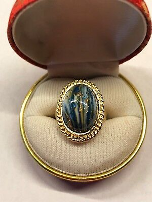 Vintage Blue Marbled Gold Speckled Cabochon Ring