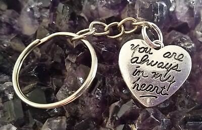"SILVER PLATED  ""YOU ARE ALWAYS IN MY HEART"" CHARM ON KEY CHAIN + black cord"