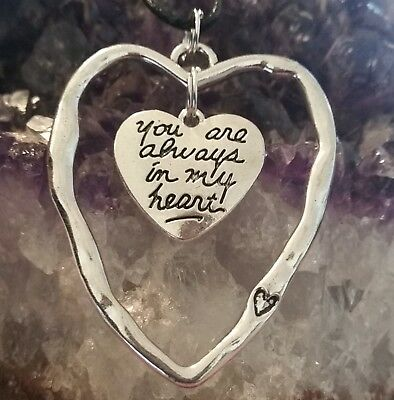 WOW - NEW LARGE SILVER PLATED OPEN DOUBLE HEART PENDANT - ON 44cm BLACK CORD