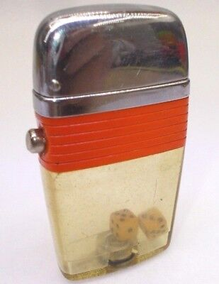 Vintage cigarette lighter petrol tin trench Scripto USA w dice cubes 1970's