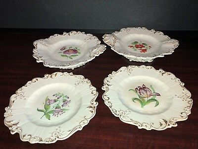 19th Century Plates (4) Floral and Gilt Decoration