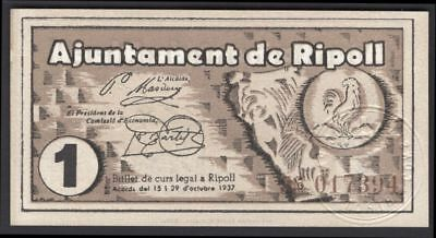 Spain: Civil War/Regional. Ripoll. 1 peseta. October 1937. 017394. (Pick –). AU.