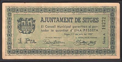 Spain: Civil War/Regional. Sitges. 1 pesseta. 1-de Juny1937. A 10272. (Pick –...