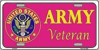 "Army Veteran Pink Novelty 6"" x 12"" Metal License Plate Sign"