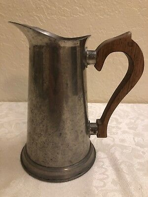 """Vintage Pewter Pitcher 8"""" With Wood Handle Stieff Pewter"""