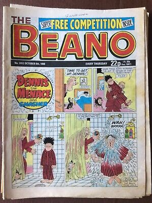 Box L The Beano Comic No 2412 October 8th 1988 Gnasher