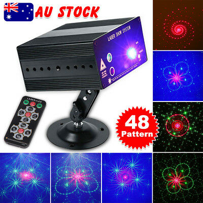 48 Pattern Laser Projector Stage Lights LED Mini RGB Party DJ Disco KTV Strobe
