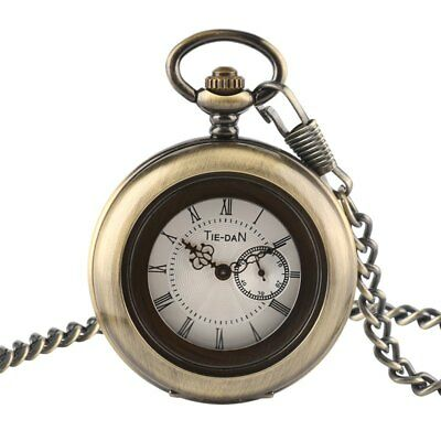 Antique Bronze Round Small Second Hand Design Quartz Pocket Watch with Chain