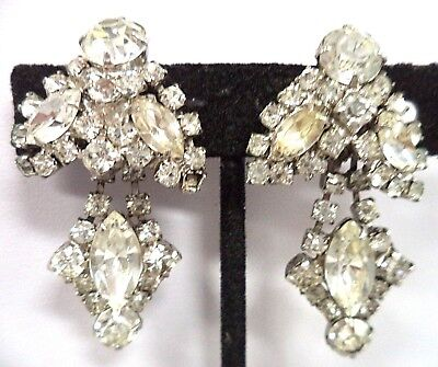 "Stunning Vintage Estate High End Rhinestone Flower 1 7/8"" Clip Earrings!!! G181O"