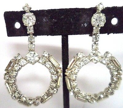 "Stunning Vintage Estate High End Rhinestone Flower 2 1/8"" Clip Earrings!!! G181S"