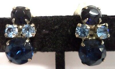 "Stunning Vintage Estate High End Blue Rhinestone Flower 3/4"" Clip Earrings G183B"
