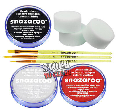 Snazaroo Halloween 3 face paint set Assorted Brushes and sponges White Black Red