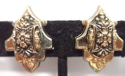 "Vintage Estate High End Ornate Gold Tone Flower 7/8"" Screw Earrings!!! G183M"