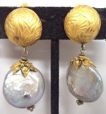 "Vintage Signed 925 Sterling Genuine Blister Pearl 1 5/8"" Clip Earrings!!! G183N"