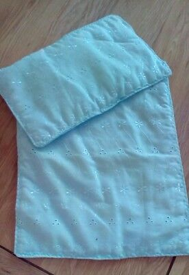 """Dolls Pram Cot Quilt Set Pale Blue Broderie Anglaise 12"""" X 10"""" New"""