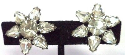 "Stunning Vintage Estate High End Rhinestone Flower 1"" Clip Earrings!!! G184B"