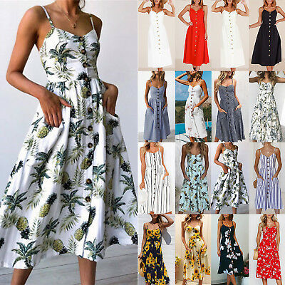 Womens Holiday Strappy Button Floral Dress Summer Beach Midi Swing Sundress AU
