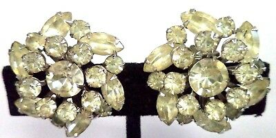 "Stunning Vintage Estate High End Rhinestone Flower 1"" Clip Earrings!!! G184J"