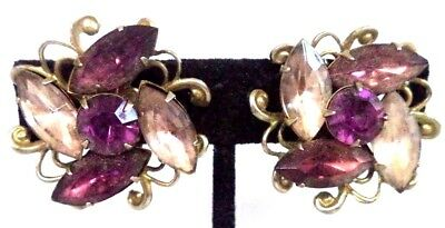 "Stunning Vintage Estate High End Rhinestone Flower 1 1/8"" Clip Earrings!!! G184N"