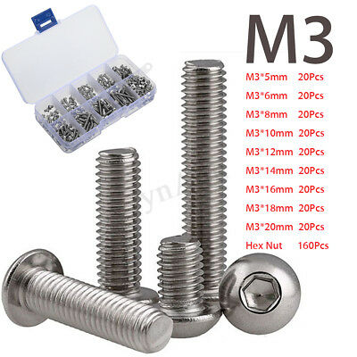 340pcs M3 A2 Stainless Steel Button Head Hex Nut Socket Bolt Screw Cap Kit Set