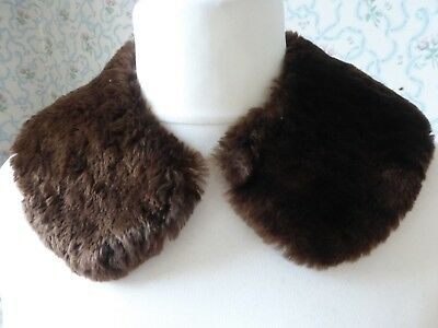 Vintage Cosy Brown Real Sheepskin Collar