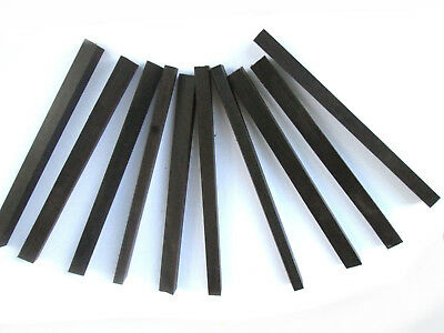 "Ebony Tapered Wood Piano Key Blanks Lot of 10 8"" long x 5/16"" x 5/8"" Black C321"