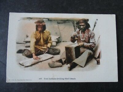 1900s Zuni Indians Drilling Shell Beads for Jewelry Postcard