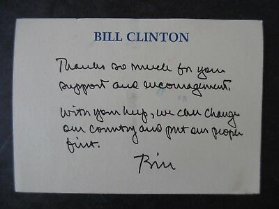 1992 Bill Clinton Presidential Campaign Support Thank You Postcard