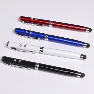 New Laser pointer 4 in 1 LED Metal Flashlight Ball Pen Touch Screen Stylus Q9X4
