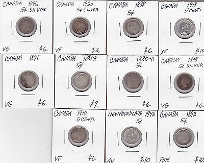 LOT OF ELEVEN DIFFERENT CANADA 5c SILVERS