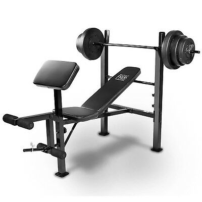 Marcy Pro PM-20115 Standard Weight Bench with 45kg Weight Set - Arm & Leg Curl