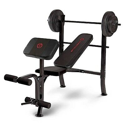 Marcy Club MKB-2081 Standard Weight Bench with 36kg Weight Set with Arm Curl Pad