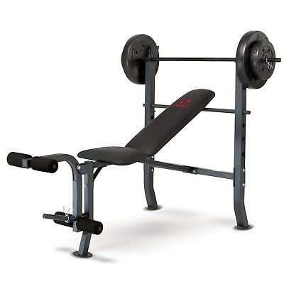 Marcy MD-2080 Standard Weight Bench with 36kg Weight Set - Incline to Decline