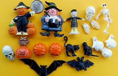Vintage Lot 18 Dollhouse Miniature Halloween Figurines Skull Witch Bat Cat JOL