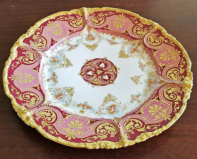 """Stunning Antique Jean Pouyat Limoges """"Regal Red"""" Hand Painted Plate, Excellent"""