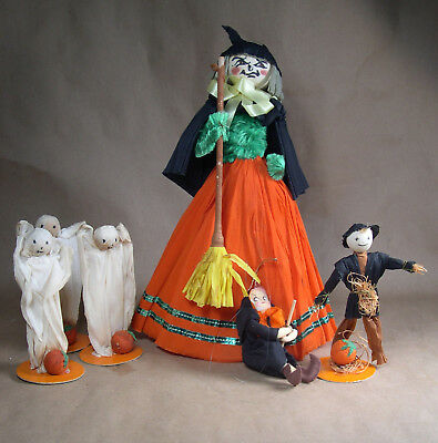 Vintage Lot of HALLOWEEN Crepe Paper Figures Ghosts Witch Scarecrow
