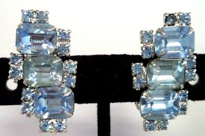"Stunning Vintage Estate High End Rhinestone Flower 1 1/8"" Clip Earrings!!! G184X"