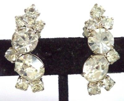 "Stunning Vintage Estate High End Rhinestone Flower 1 1/8"" Clip Earrings!!! G185D"
